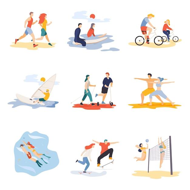 Caratteri del fumetto di sport messi isolati Vettore Premium