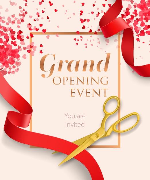 Caratteri dell'evento di grande apertura con nastri rossi Vettore gratuito
