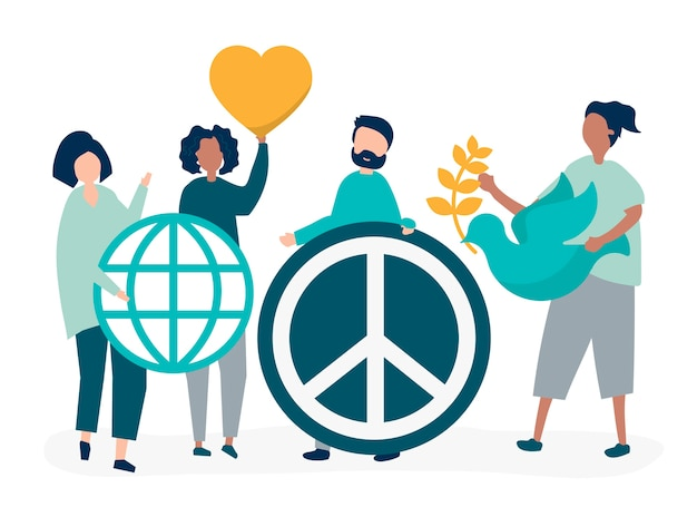 Caratteri della gente che tiene l'illustrazione dell'icona di pace Vettore gratuito