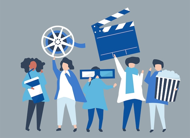 Caratteri della gente che tiene l'illustrazione delle icone di film Vettore gratuito