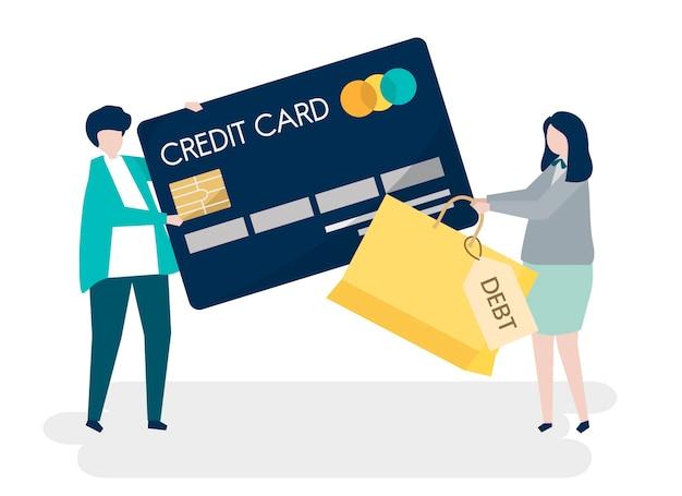 Caratteri della gente e illustrazione di concetto di debito della carta di credito Vettore gratuito