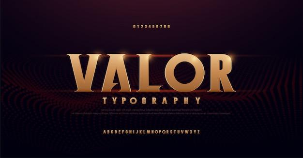 Caratteri di alfabeto oro serif astratto. tipografia moderna dorata per rock, musica, gioco, futuro, creativo, carattere e numero di design di font 3d. Vettore Premium