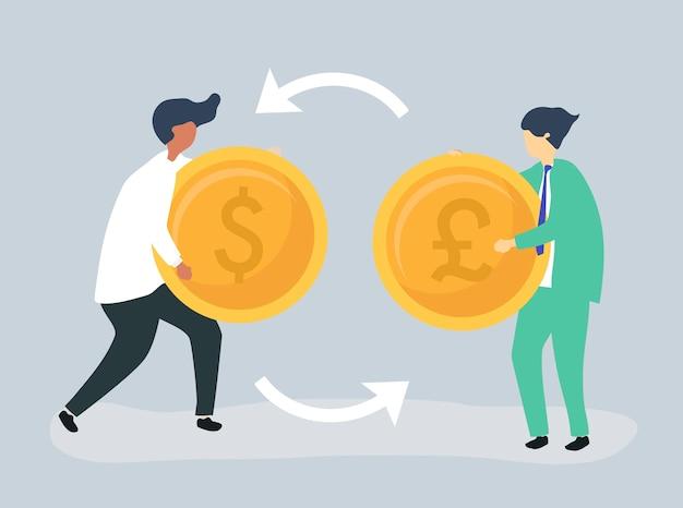 Caratteri di due uomini d'affari che si scambiano valuta Vettore gratuito
