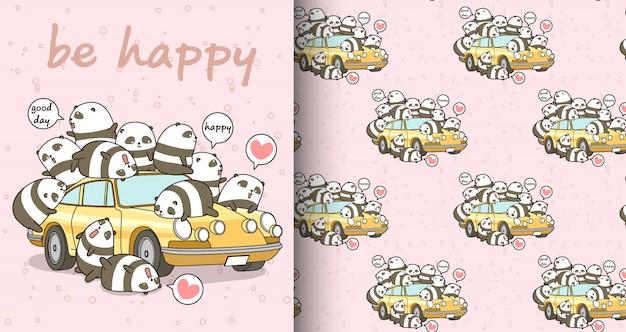 Caratteri di panda kawaii senza soluzione di continuità e modello di auto gialla Vettore Premium