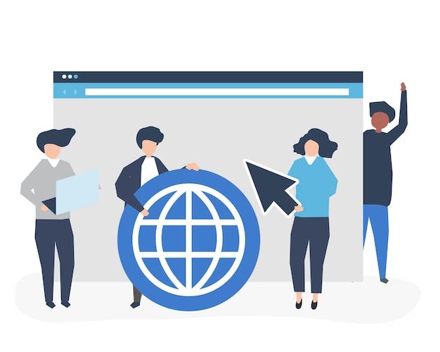 Caratteri di persone in possesso di icone di ricerca su internet Vettore gratuito