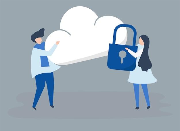 Caratteri di una coppia e un'illustrazione di sicurezza della nuvola Vettore gratuito