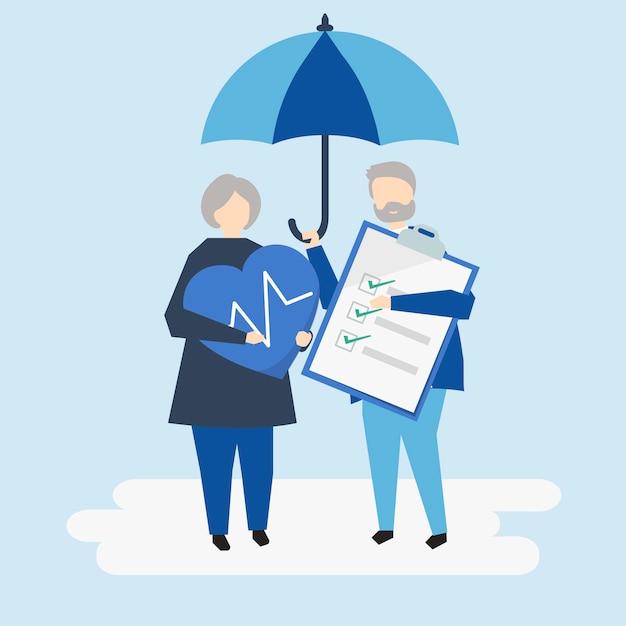Caratteri di una coppia senior e di un'illustrazione dell'assicurazione malattia Vettore gratuito