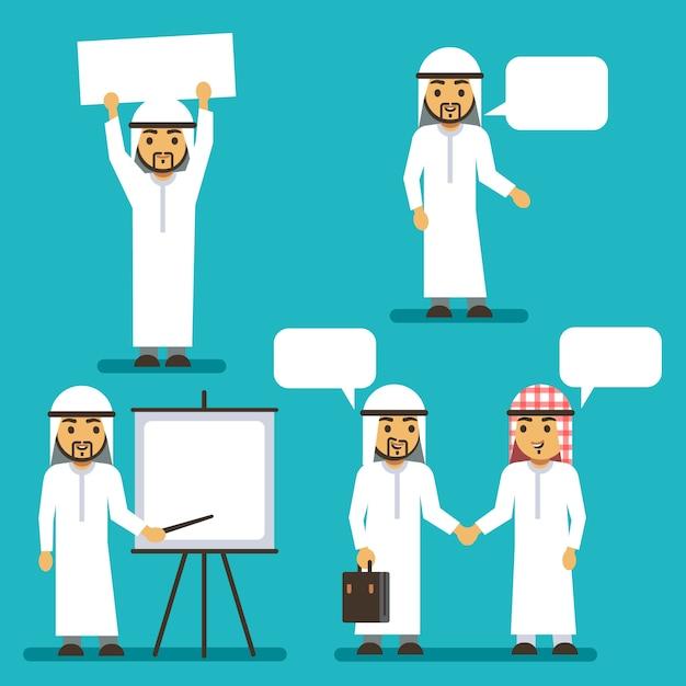 Caratteri di vettore dell'uomo arabo con la bandiera in bianco e fumetti Vettore Premium