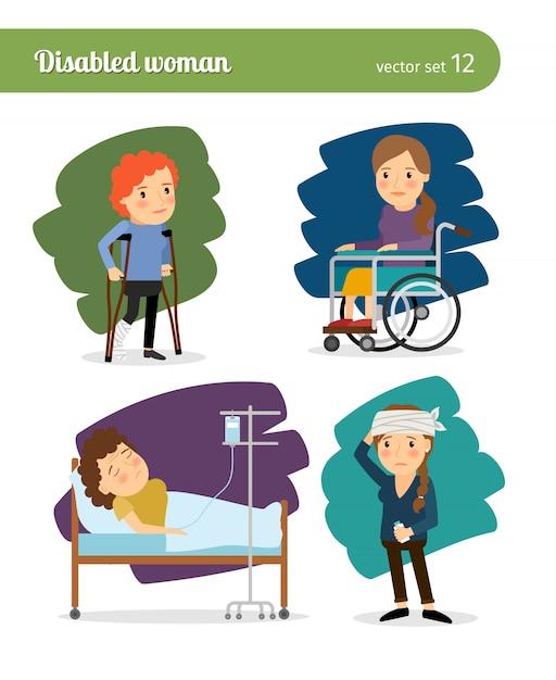 Caratteri di vettore disabili donna e donna malata Vettore Premium