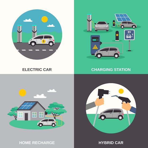 Caratteri e caratteri piani dell'automobile elettrica Vettore gratuito