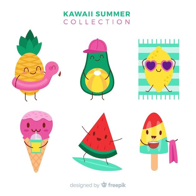 Caratteri estivi kawaii Vettore gratuito