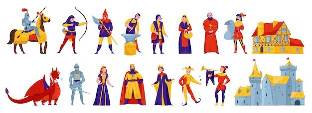 Caratteri medievali del regno 2 insiemi orizzontali piani con l'illustrazione di vettore del drago della fortezza del castello del re del cavaliere della regina del cavaliere Vettore gratuito