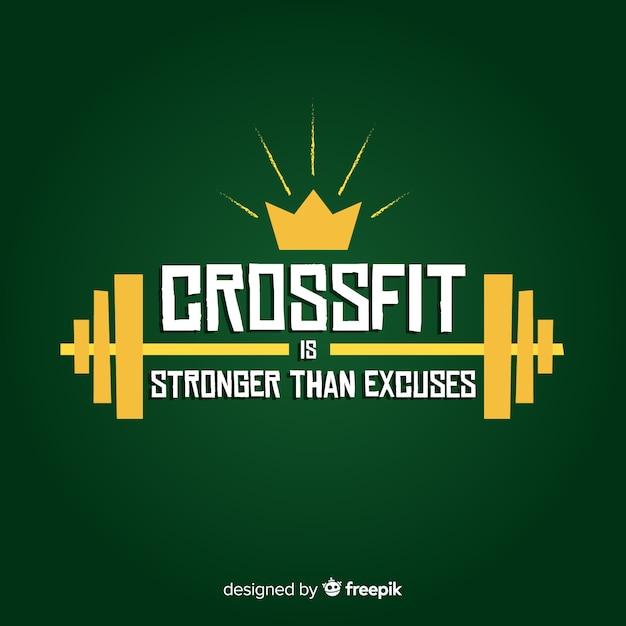 Caratteri motivazionali: il crossfit è più forte delle scuse Vettore gratuito