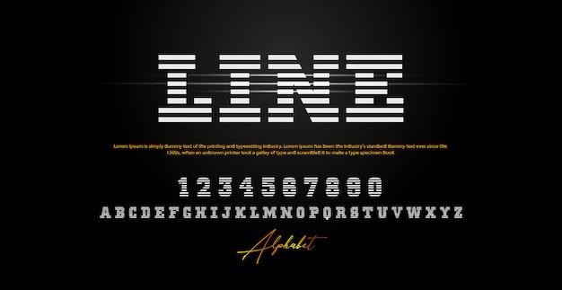 Caratteri numerici di alfabeto di tecnologia moderna di sport Vettore Premium