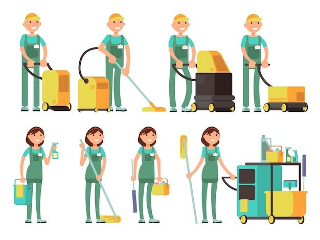 Caratteri vettoriali più puliti con attrezzature per la pulizia. squadra della società di pulizie nel set vettoriale uniforme Vettore Premium
