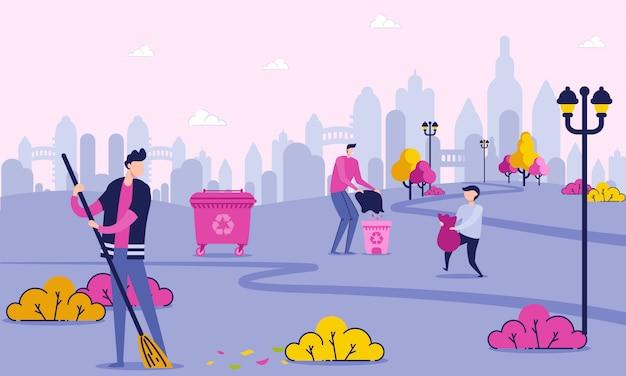 Caratteri volontari che puliscono parco vicino alla città. Vettore Premium