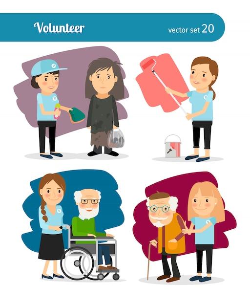 Caratteri volontari della giovane donna Vettore Premium