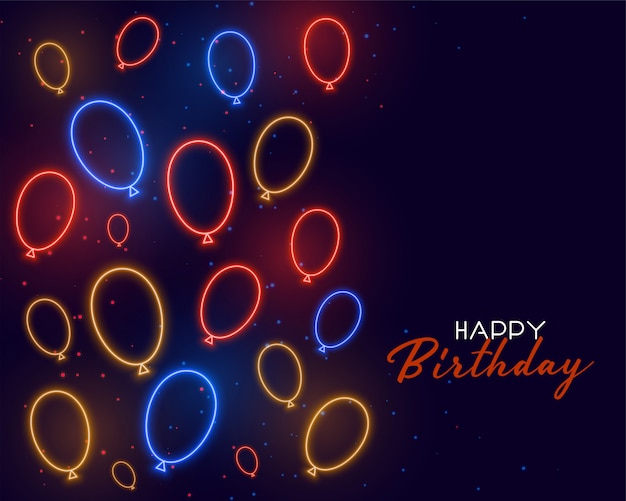 Card di buon compleanno con palloncini al neon Vettore gratuito