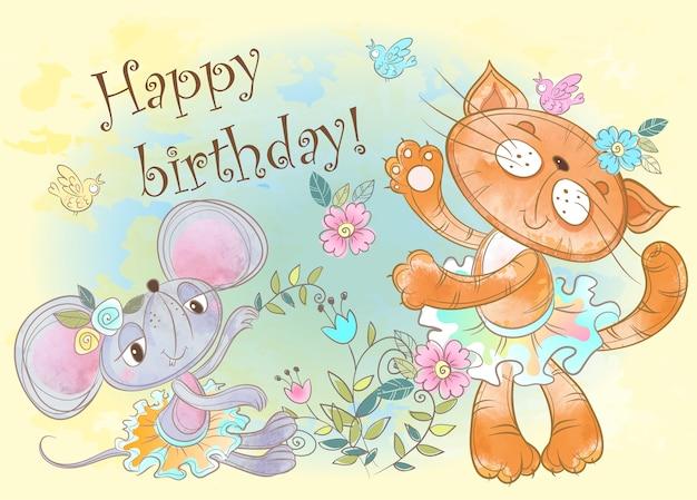 Card di buon compleanno con simpatico gatto e topo. Vettore Premium