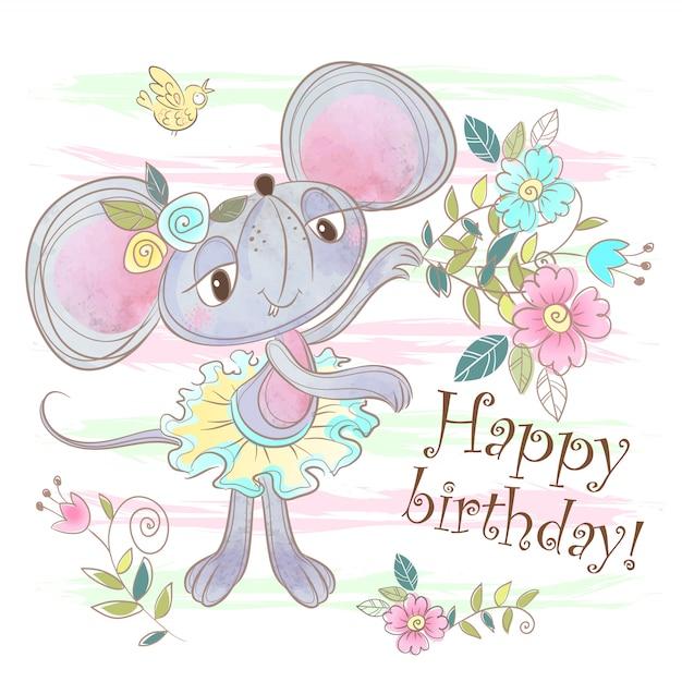 Card di buon compleanno con un topo carino. Vettore Premium