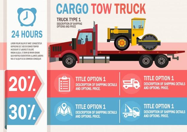 Cargo tow truck service. vector piatta illustrazione. Vettore Premium