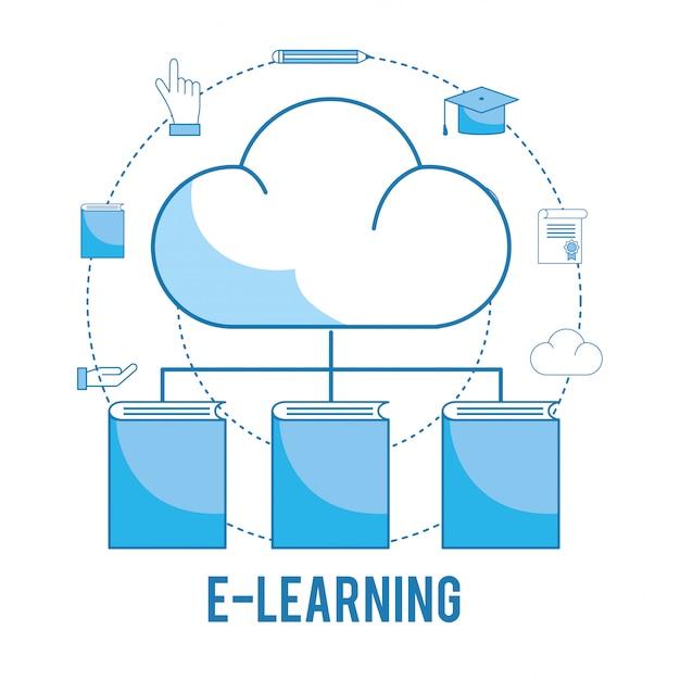 Carica cloud con conoscenza di libri e cappello di laurea Vettore Premium
