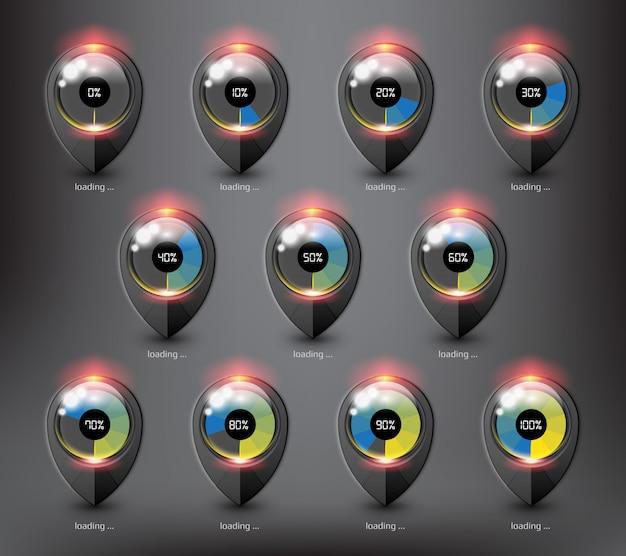 Caricamento del buffer del sito web. icona di caricamento in stato e percentuale di caricamento diversi. isolato sulla superficie nera. Vettore Premium