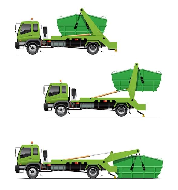 Caricamento del camion del camion dei rifiuti Vettore Premium