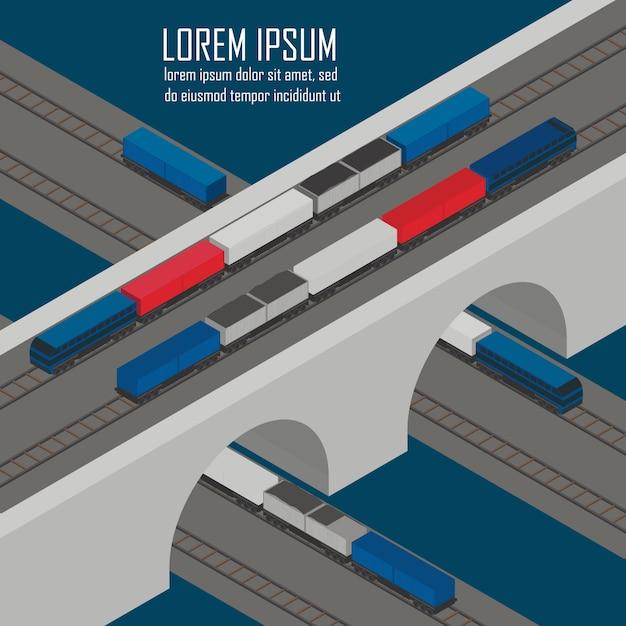 Carichi i treni all'illustrazione isometrica della stazione Vettore Premium