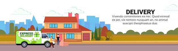 Carico minivan corriere attesa checklist box consegna pacchi trasporto destinazione trasporto trasporto Vettore Premium