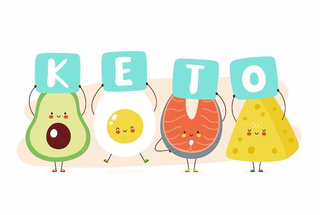 Carina felice avocado, uovo, pesce rosso e formaggio tenere segno keto. isolato su sfondo bianco progettazione di carta dell'illustrazione del personaggio dei cartoni animati, stile piano semplice. keto diet card, banner design concept Vettore Premium