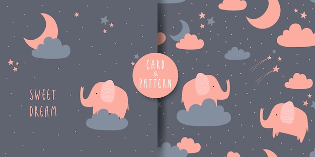 Carino adorabile elefante cartoon doodle card e seamless pattern Vettore Premium