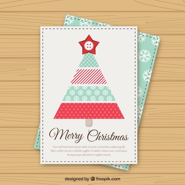 Carino albero chriistmas geometrico christmas card Vettore gratuito