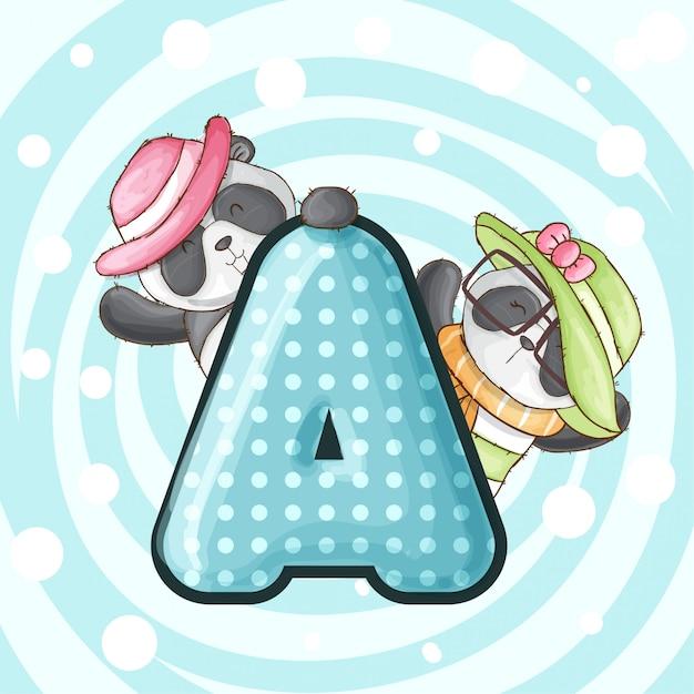 Carino alfabeto panda lettera alfabeto-vettoriale Vettore Premium