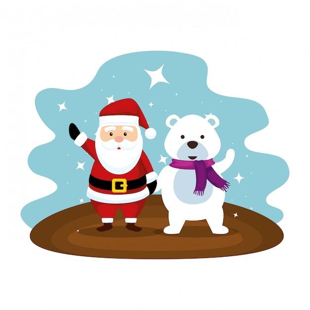 Carino babbo natale con caratteri orso polare Vettore Premium