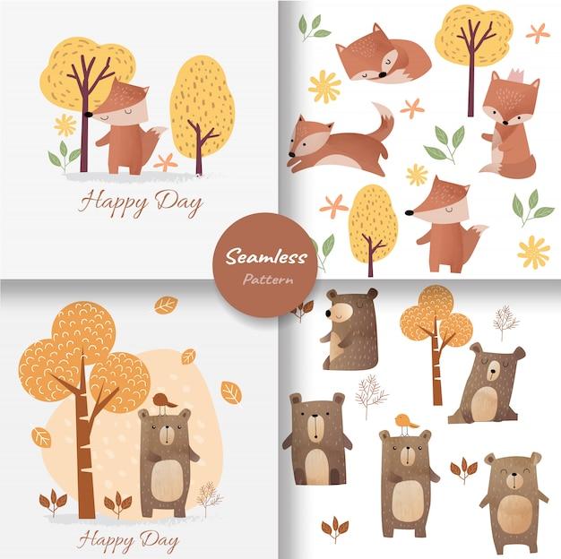 Carino baby fox e orso seamless pattern Vettore Premium