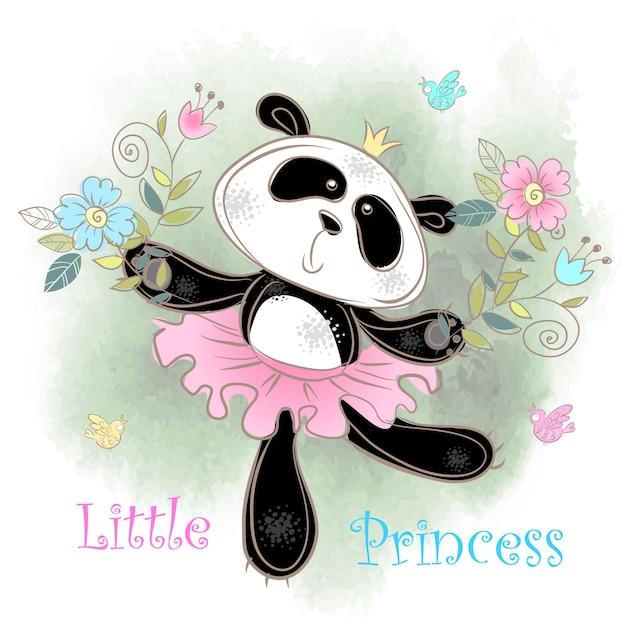 Carino ballerina panda ballare. piccola principessa. Vettore Premium