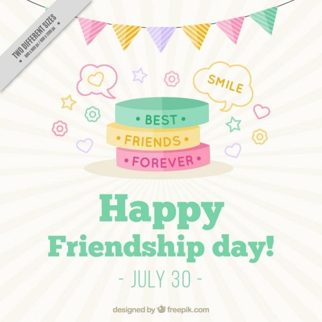 Carino braccialetti colorati sfondo del giorno amicizia Vettore gratuito