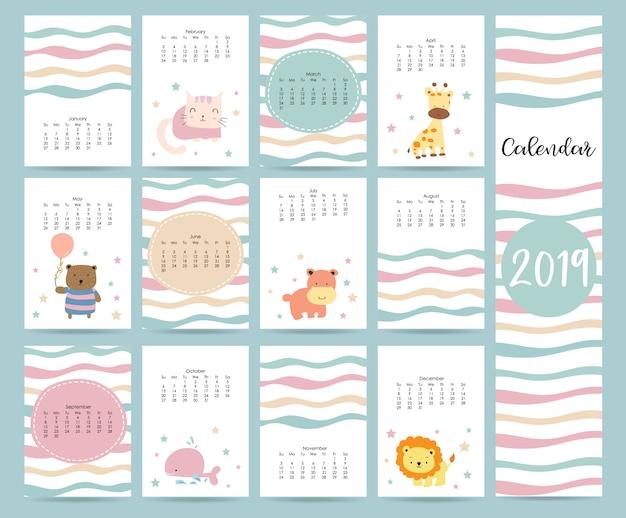Carino calendario mensile Vettore Premium