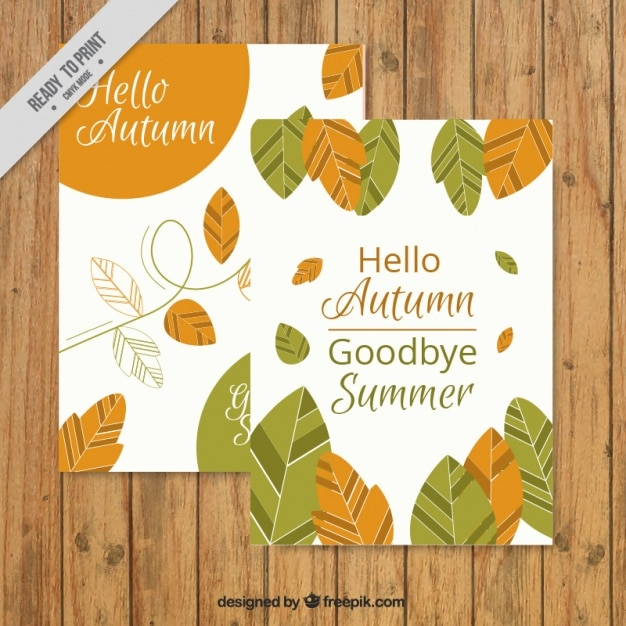 "Preferenza Carino carta autunno con le foglie e le frasi ""ciao autunno  DZ33"