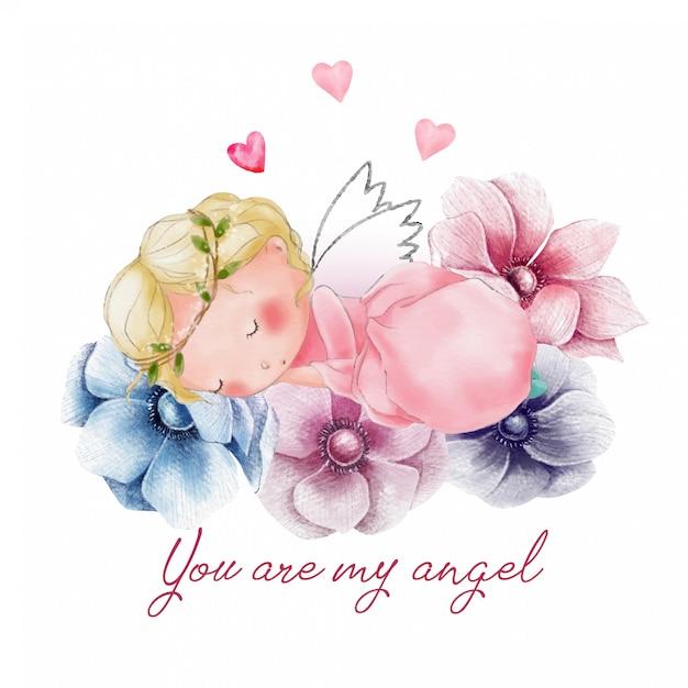 Carino carta di san valentino con angelo addormentato Vettore Premium