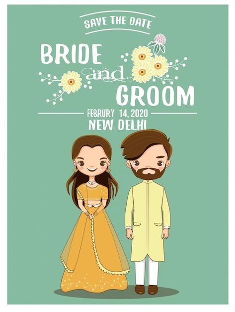 Carino coppia indiana romantica per la carta di inviti di nozze Vettore Premium