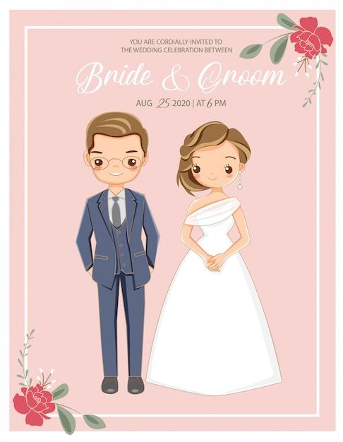 Carino coppia romantica in abito da sposa Vettore Premium