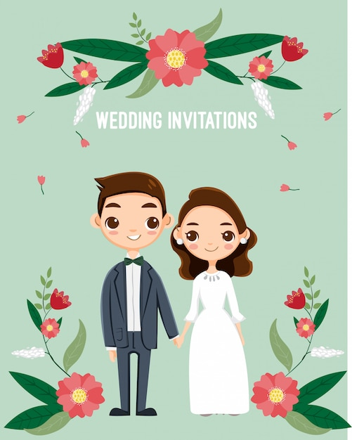 Carino coppia romantica per la carta di inviti di nozze Vettore Premium