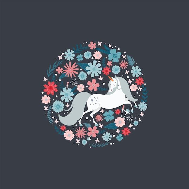 Carino cornice rotonda con un unicorno circondato da fiori. Vettore Premium