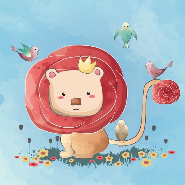 Carino dai capelli rosa piccolo leone Vettore Premium