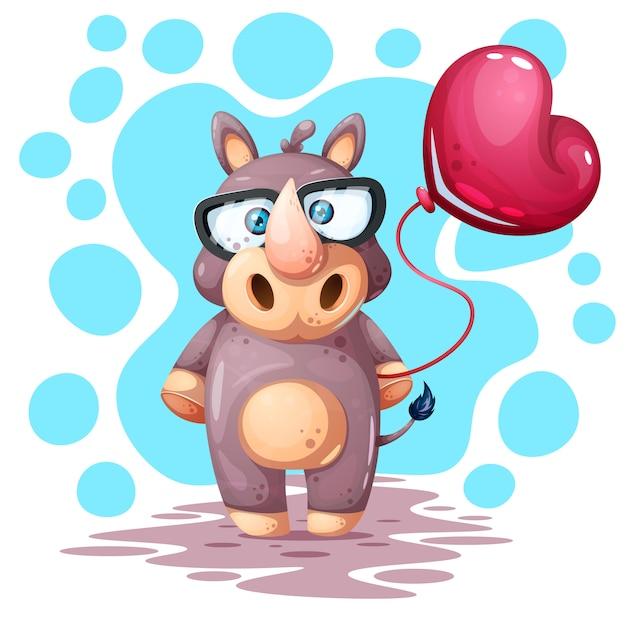 Carino, divertente, bel rinoceronte con palloncino Vettore Premium