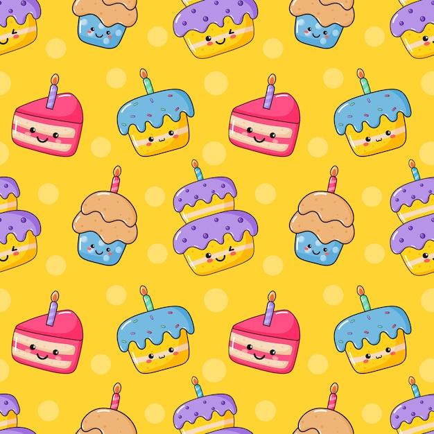 Carino divertente kawaii compleanno torta senza cuciture. festa del cibo. Vettore Premium