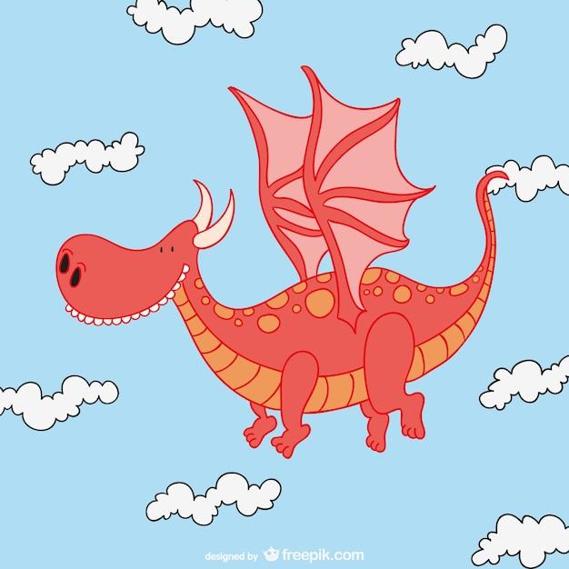 Carino drago cartone animato scaricare vettori gratis