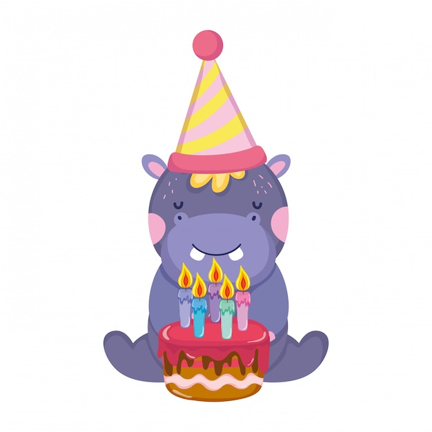 Carino e piccolo elefante con cappello da festa e torta dolce Vettore Premium